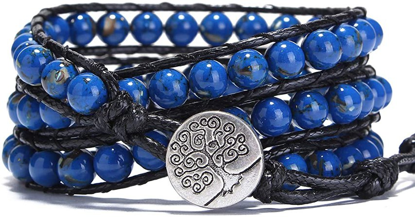 Bonnie Wrap Bracelet Gemstone Bangle Bracelet Tree of Life Leather Wrap Beaded Bracelet 3 Wrap Adjustable (Blue)