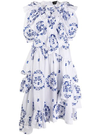 Shop white & blue Simone Rocha floral print dress with Express Delivery - Farfetch