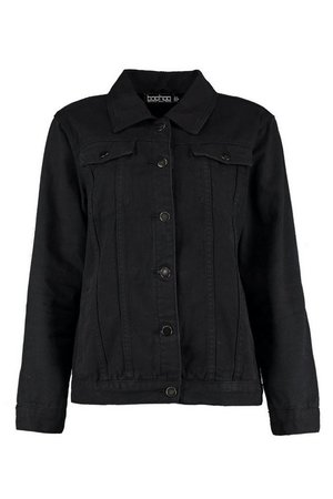 Oversize Black Denim Jacket | boohoo