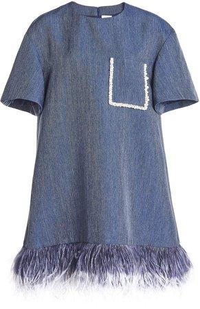 Huishan Zhang Alba Embellished Chambray Dress