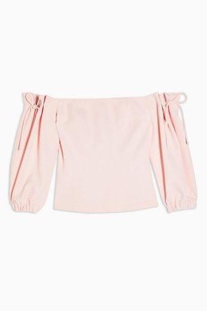 Blush Pink Tie Shoulder Crepe Bardot Blouse | Topshop