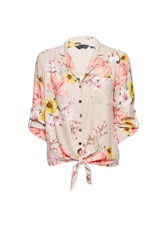 Camel Floral Tie Hem Shirt | Dorothy Perkins pink