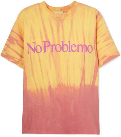 No Problemo Printed Tie-dyed Cotton-jersey T-shirt - Yellow
