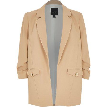 Beige pocket detail blazer | River Island