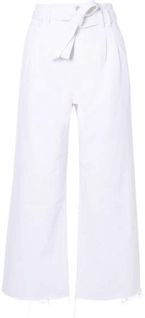 Belted High-rise Wide-leg Jeans - White