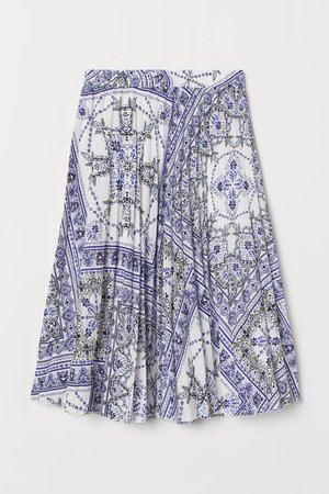 Pleated Skirt - White/blue patterned - Ladies   H&M US