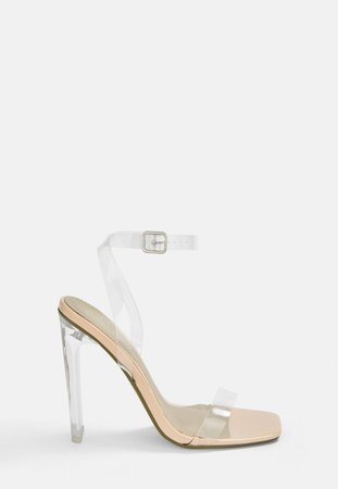 Nude Square Toe Clear Heels | Missguided