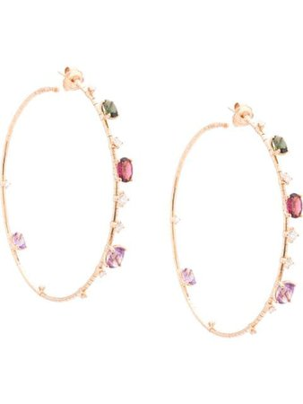 Mattia Cielo 18kt Rose Gold Mixed Gemstone Hoops - Farfetch