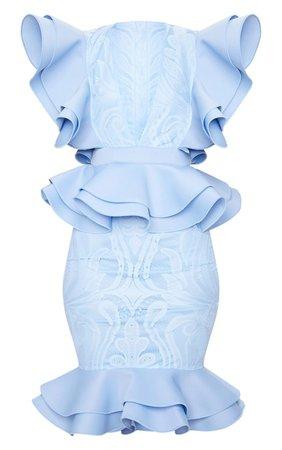 Red Ruffle Detail Plunge Midi Dress | Dresses | PrettyLittleThing