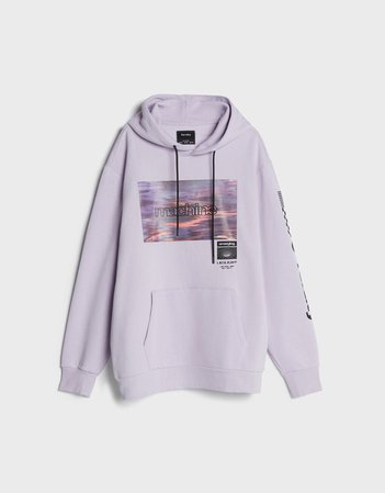 Photo print hoodie - New - Bershka United States