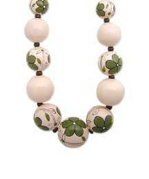 ZAD Green Floral Painted Wood Bead Necklace | zulily