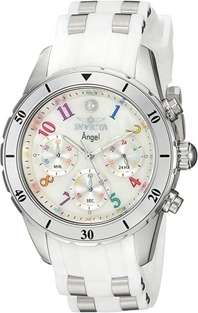 Invicta Women's Angel Stainless Steel Quartz Watch with Silicone Strap, White, 20 (Model: 24903): Watches