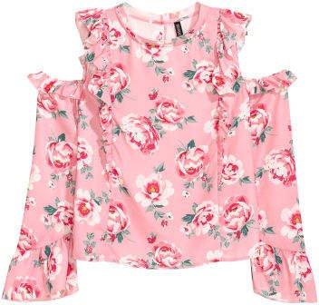Open-shoulder Blouse - Pink