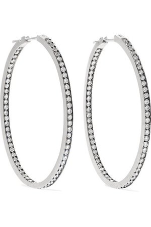 Sylva & Cie | 18-karat white gold diamond hoop earrings | NET-A-PORTER.COM