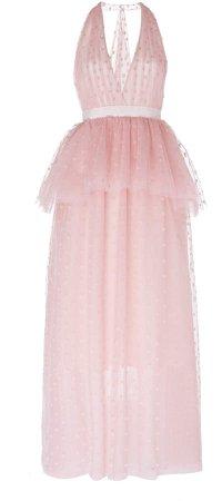 Belle Jacquard Tulle Halter Gown