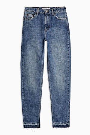 Mid Blue Split Hem Mom Jeans | Topshop