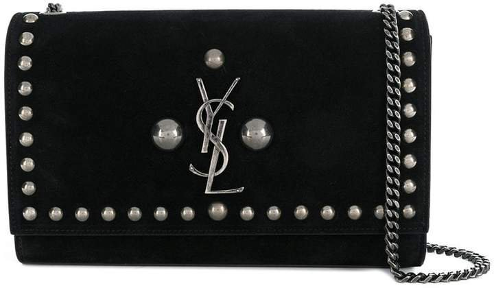 studded logo shoulder bag