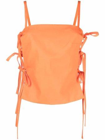MSGM side-tie cami top orange 3042MDT111217300 - Farfetch