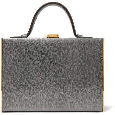 Rear Window Evening Metallic Textured-leather Tote - Silver