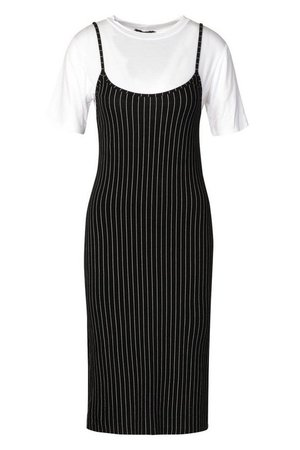 Pinstripe T-shirt Layered Midi Slip Dress | Boohoo