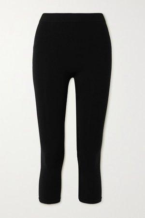 Cropped Stretch-jersey Leggings - Black
