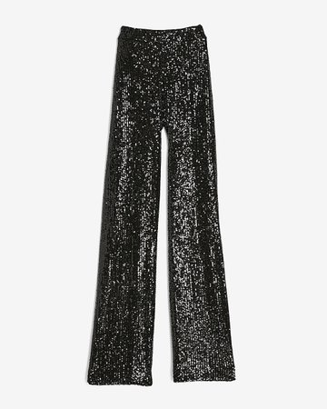 High Waisted Sequin Wide Leg Pant | Express