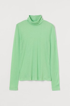 Fitted Turtleneck Top - Green