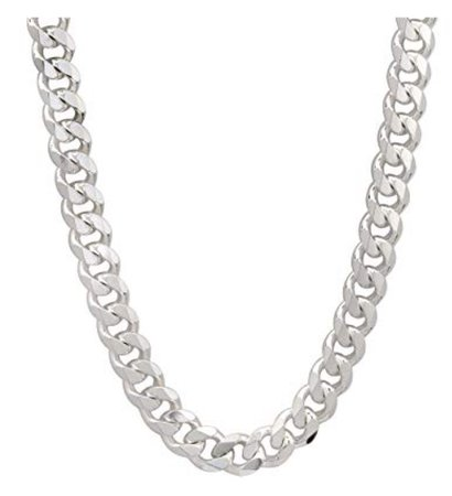 silver cuban link chain necklace
