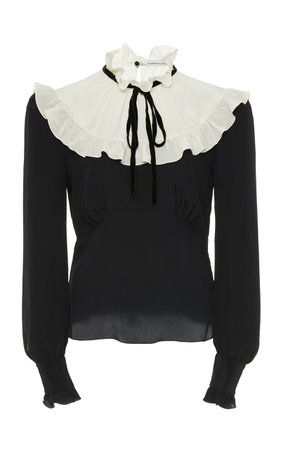 Shoptagr | Silk Georgette Plastron Blouse by Alessandra Rich