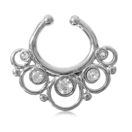 Charms Fake Septum Clicker Crystal Nose Ring Non Piercing Hanger Clip On Jewelry   eBay