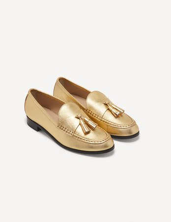 Metallic leather loafers - Loafers | Sandro Paris