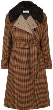 Mohair-trimmed Houndstooth Wool-blend Coat - Brown