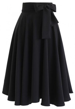 Flare Hem Bowknot Waist Midi Skirt in Black - Skirt - BOTTOMS - Retro, Indie and Unique Fashion