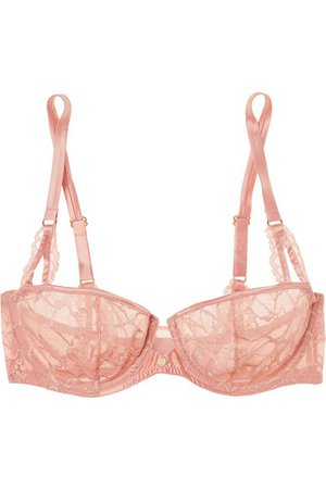 Chantelle | Segur satin-trimmed lace and tulle underwired bra | NET-A-PORTER.COM