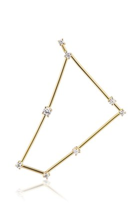 18k Yellow Gold Capricorn Constellation Earring By Tara Hirshberg | Moda Operandi
