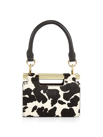 Max + Min Micro-Mini Meru Cow-Print Calf Hair & Leather Clutch | SaksFifthAvenue