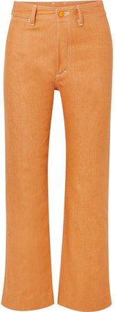 W012 High-rise Straight-leg Jeans - Orange