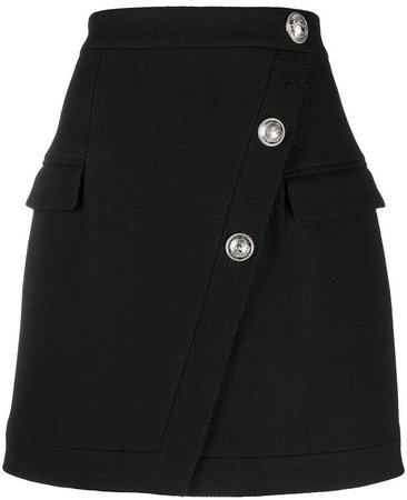 Button-Embellished Mini Skirt