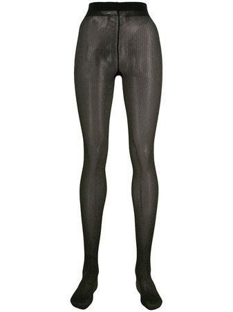 Twin-Set Black Metallic Striped Tights