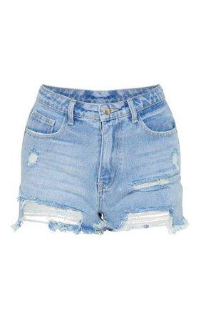 Light Blue Wash Distressed Denim Shorts
