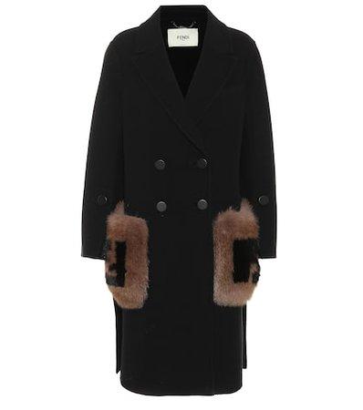 Fur-trimmed wool coat