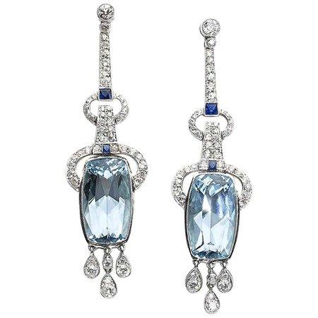 Aquamarine Sapphire Diamond and Platinum Earrings For Sale at 1stDibs
