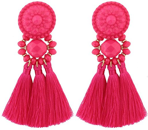 Amazon.com: Boderier Bohemian Statement Thread Tassel Chandelier Drop Dangle Earrings with Cassandra Button Stud (Black1): Jewelry