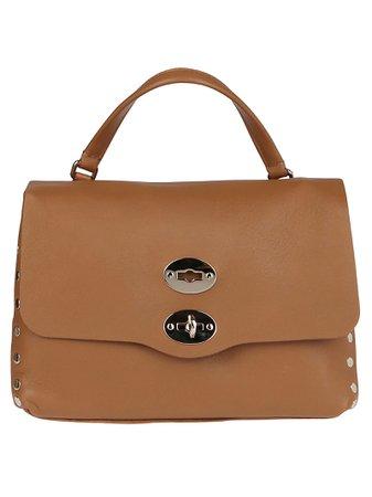 Beige Leather Postina Tote Bag