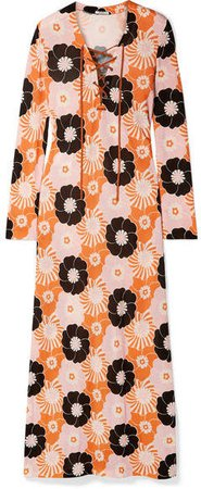 Suede-trimmed Floral-print Stretch-jersey Maxi Dress - Orange