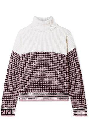 Fendi | Paneled wool and cashmere-blend turtleneck sweater | NET-A-PORTER.COM