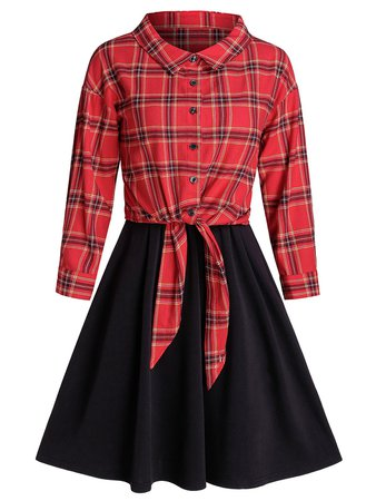 [39% OFF] Plaid Front Tie Top And Sleeveless Dress Set | Rosegal