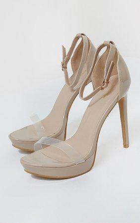 Nude Clear Strap Platform Heeled Sandals | PrettyLittleThing USA