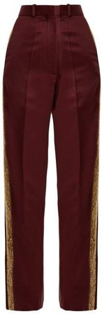 Hillier Bartley - Bathorea Faux Snake Trimmed Wool Blend Trousers - Womens - Burgundy Multi