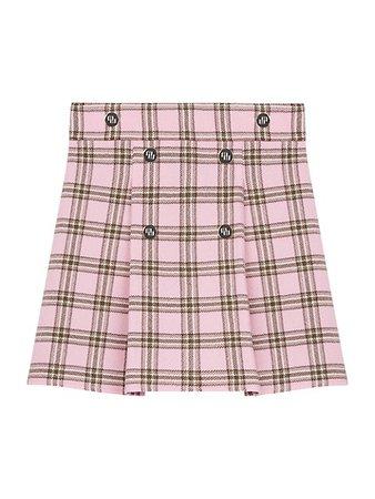 Maje Pleated Plaid A-Line Mini Skirt